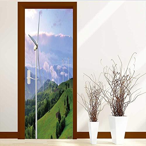 TijakaTechnology 3D Door Murals Stickers Wall Decals eco Power Wind turbines generating Electricity Door Wall Sticker W23.6 x - Turbines Wind Generating