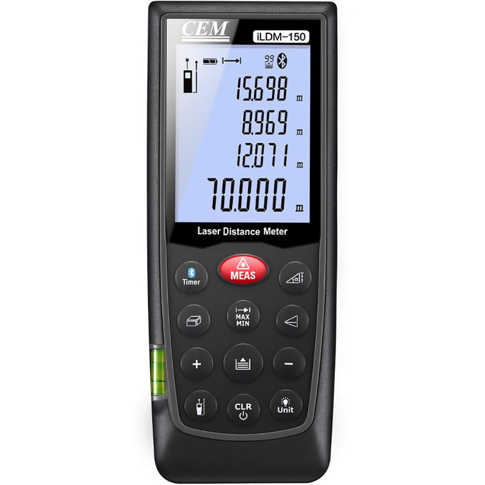 CEM iLDM-150 229ft/70m PRO Laser Distance Meter of Outdoor Application Bluetooth Laser Distance Measure with LCD Backlight,3-line Display,Pythagorean Mode, Measure Distance, Area and Volume by CEM