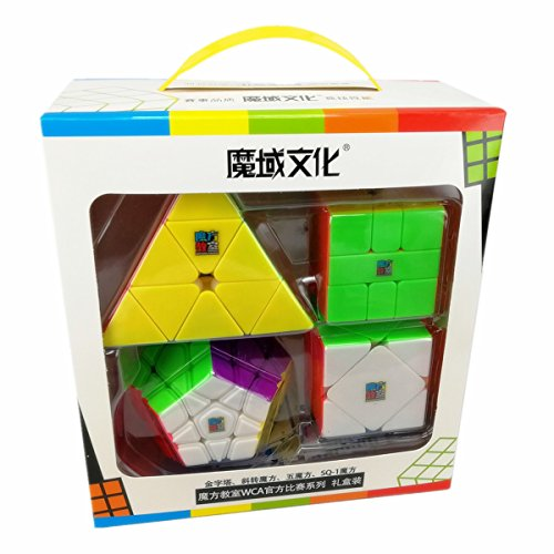CuberSpeed Speedcubing Bundle MoFang JiaoShi Megaminx & Skewb 3X3 & Square-1 & Pyramid Stickerless Bright Magic cube Cubing Classroom Stickerless speed cube set with Gift Packing (Bundle Squares)