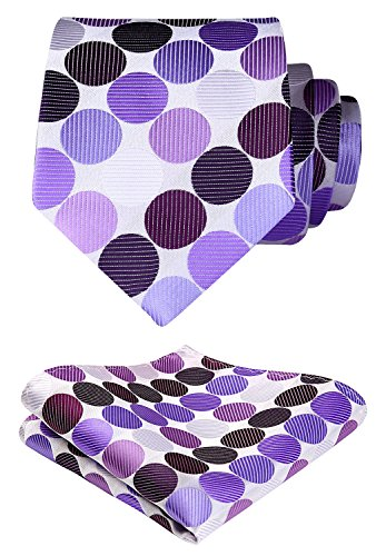 SetSense Men's Polka Dot Tie Handkerchief Jacquard Woven Classic Men's Necktie & Pocket Square Set Purple/White