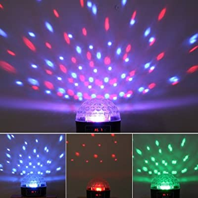 MP3 Crystal Magic Ball 6 color Rotating Strobe Disco Stage Christmas LED RGB Ball Light