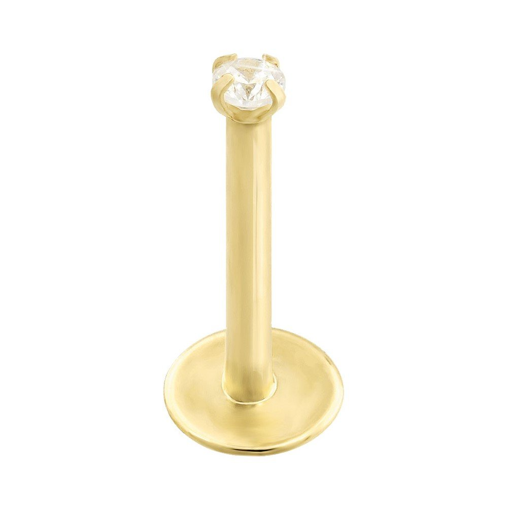 14K Gold Internally Threaded Labret With Clear Cubic Zirconia, Gauge: 16 (1.2Mm), 14K Yellow Gold, 1/4'' (6Mm)