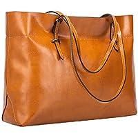 S-ZONE Women's Vintage Genuine Leather Tote Handbag (Brown)