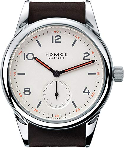 Nomos Glashutte Club Manual Winding 36 mm Round Analogue Silver Dial Men's and Women's Wrist Watch with Sapphire Crystal and Brown Leather Band