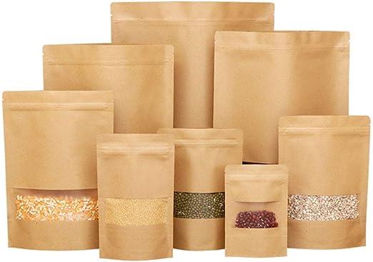 Amazon.com: 50 bolsas de papel Kraft con ventana, cierre de ...