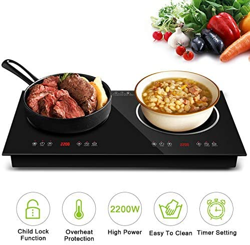 Topmin Cooktop944 Portable Cooktop Induction Cooker Ceramic Furnace 2200W Electric Stove with Kids Safety Lock, 9 Power Levels Suitable for All Cookware, 29.5 x 29.5 x 5, Black
