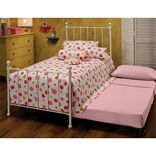 Spindle Collection - Hawthorne Collections Twin Metal Spindle Bed Trundle in White