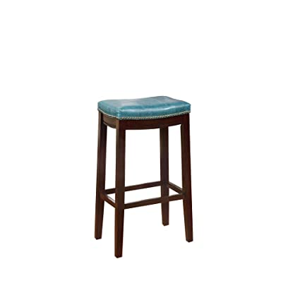 Magnificent Linon Amzn0273 Carson Blue Backless Bar Stool Brown Ibusinesslaw Wood Chair Design Ideas Ibusinesslaworg