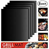 BBQ Grill Mat Set of 5 - Heavy Duty 100% Non-Stick BBQ Grill Mats, BBQ Grill & Baking Mats, Reusable, and Easy to Clean - Works on Electric Grill Gas Charcoal BBQ,Extended Warranty,15.75 x 13 Inch