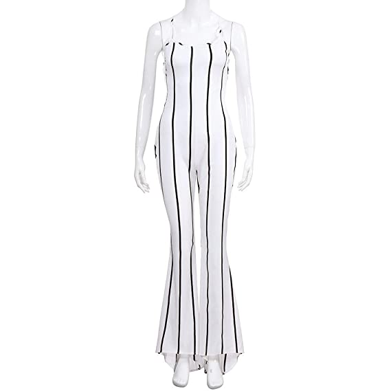 nanzhushangmao pants Women Hollow Out Jumpsuit Loose Solid Color V Neck Long Sleeve Playsuit Bodycon Jumpsuit Rompers Clubwear White Coaches' & Referees' Gear Coaches' & Referees' Gear
