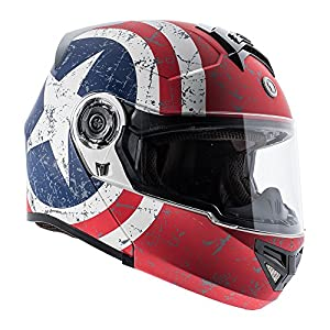TORC Unisex-Adult Full-Face-Helmet-Style Modular Motorcycle Helmet Integrated Blinc Bluetooth With Graphic (Rebel Star) (Flat White, Large),1 Pack