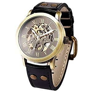 Mens Steampunk Skeleton Case Automatic Mechanical Self-Winding Leather Sport Wrist Watch