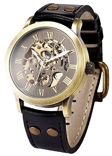 Mens Steampunk Skeleton Case Automatic Mechanical Black Leather Sport Wrist - Men For Luxury Clothing Best Brands