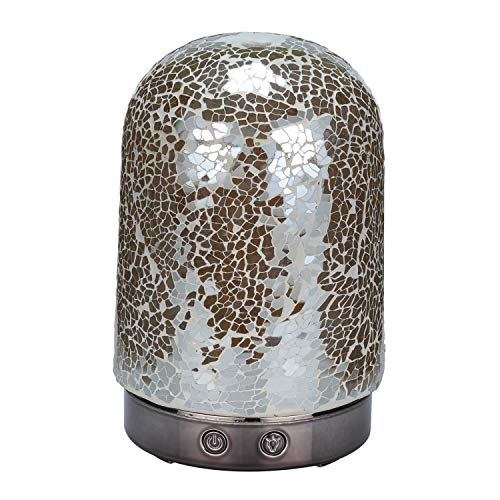 AA Crackle Mosaic Glass Iridescent Amber Aroma Essential Oil Diffuser Aromatherapy Humidifier 120ml Housing with 14-Color LED Light