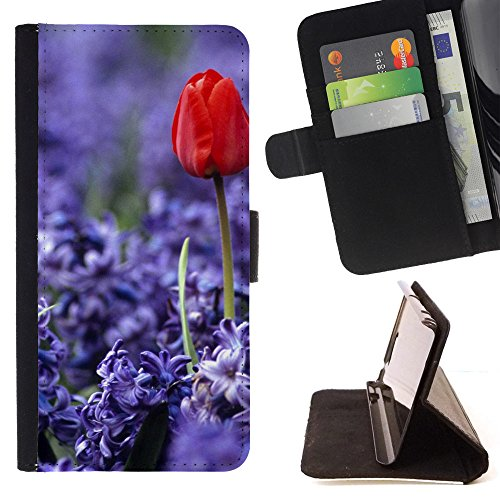 God Garden - FOR Apple Iphone 4 / 4S - Purple Flower Red Tulip - Glitter Teal Purple Sparkling Watercolor Personalized Design Custom Style PU Leather Case Wallet Fli