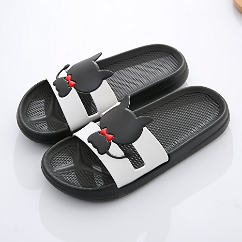 fankou and bath indoor bathroom in couples The shower Cat summer plastic non women 40 men slippers Black slippers Silence slip home 39 cartoon the H48HwWvrqz