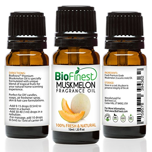 BioFinest Muskmelon Fragrance Oil - 100% Pure Natural Fruit - For Home Aromatherapy, Essential Oil Diffuser, Air Refresher, Skin Hair Care Cosmetic Flavoring Candles Soap Spray - FREE E-Book (10ml) (Essential Banana Apple Greens)