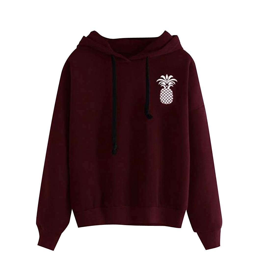 YUNY Womens Pinapple Printed Hooded Pullover Long Sleeve Sweatshirts Wine Red XS