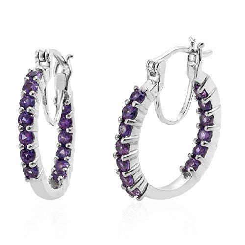 (Round Platinum Purple Sapphire Inside Out Hoops, Hoop Earrings for Women Cttw 1.8)