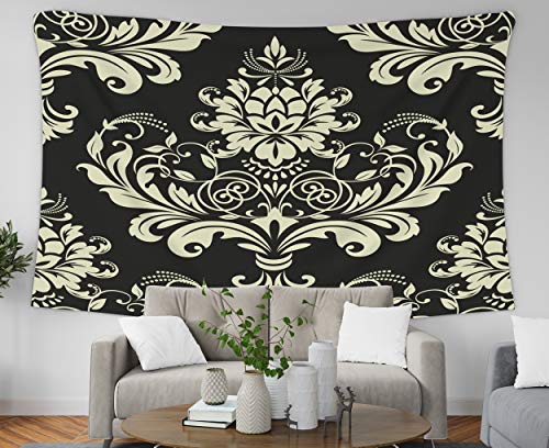 Pamime Home Decor Tapestry for Floral Pattern Damask Background Gold Black Ornament Baroque Wall Tapestry Hanging Tapestries for Dorm Room Bedroom Living Room(80x60 Inches(200x150cm) Tapestry (Damask Wall Hanging)