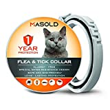 MASOLD Flea Collar for Cats - 12 Months Protection Flea Tick Collar - Adjustable, Safe and Waterproof Cat Flea Control Collar - All Natural and Anti-Allergy Flea Collar