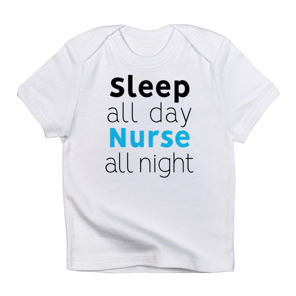 71974a4fd6a8 Amazon.com  CafePress - Sleep All Day Nurse All Night - Cute Infant  T-Shirt