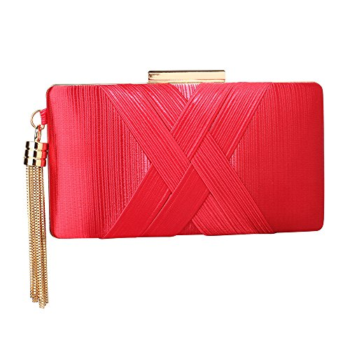 New Red Evening Handbag Tassel Box Design Hard Bag For With Case Ladies Clutch Women 1 Designer Look AgqBwxg7a
