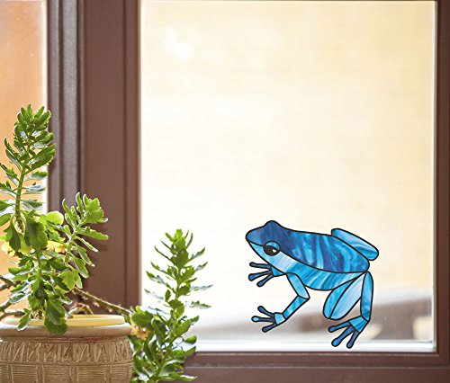 - Blue Dart Frog - Stained Glass Style See-Through Vinyl Window Decal - Copyright Yadda-Yadda Design Co. (4