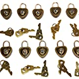 (10 Pack) Lot of Retro Heart Shaped Mini Padlocks with a Pair of Keys with Each Lock
