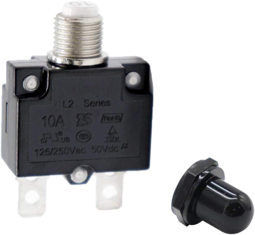 SDENSHI 10A Sicherungsschalter F/ür /Überlastschalter Mit Schwarzer Kappe AC 125 250V
