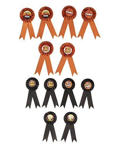 Award Ribbons - 12-Piece Rosette Ribbons Award for Halloween Costume Contests, Halloween Party Supplies, 6 Awards, Black and Orange Glitter, 3.2 x 7.7 Inches