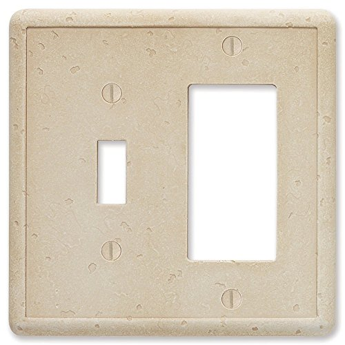 Travertine Switchplates - Questech Travertine Tumbled Textured Wall Plate/Switch Plate/Outlet Cover (Single Toggle/Single GFCI Decorator Combination)