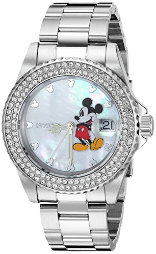 Invicta Women's Disney Limited Edition Quartz Watch with Stainless-Steel Strap, Silver, 19.5 (Model: 26238)