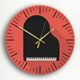 """Piano Modern Icon Style Music Room Themed 12"""" Silent Wall Clock"""