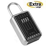 Key Lock Box Storage Safe Box Realtor 4-Digit Combination Lock Box Padlock Security for Home Garage School Spare House Car Keys