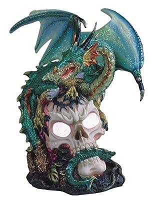 StealStreet SS-G-71359 Green Dragon Standing on Skull Head Collectible Figurine Statue Decor