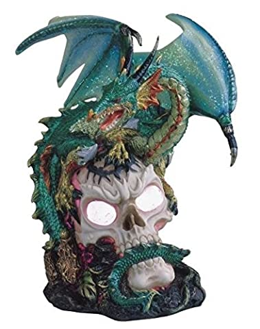 StealStreet SS-G-71359 Green Dragon Standing on Skull Head Collectible Figurine Statue Decor - Skull Head Figurine