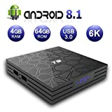 EVANPO Smart TV Box [4GB DRR3/64GB EMMC] Android 8.1 Media Player Quad-Core Cortex-A53 64 Bits Support 2.4G/5G WiFi 4K 3D USB 3.0 BT4.1 HDMI H.265