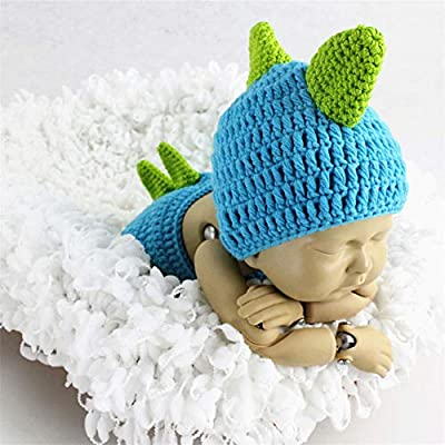 New Dinosaur Beanie Hat Costume Set Photo Crochet For 0-6 Months Newborn Baby