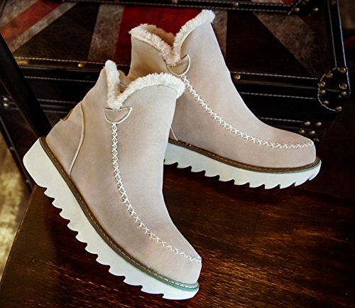 Fashion De Slip Chaussures On Aisun Femme Beige Neige Bottines Rq45tS1x
