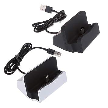 non-brand Sharplace 2 Pcs USB-c Tipo C Conector Cargador Base de Escritorio Soporte para Samsung