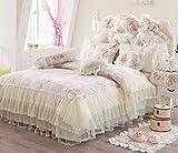 FADFAY Lace Ruffled Duvet Cover Set Floral Print Princess Korean Cotton Bedding Sets Queen Size 8PCS