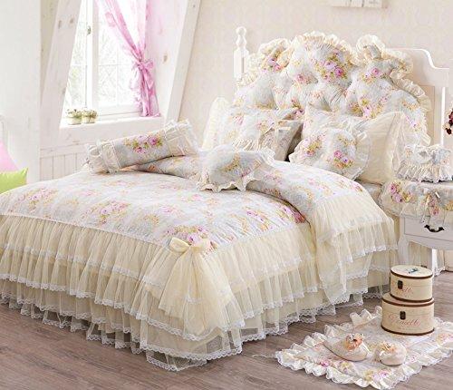(FADFAY Lace Ruffled Duvet Cover Set Floral Print Princess Korean Cotton Bedding Sets Queen Size)