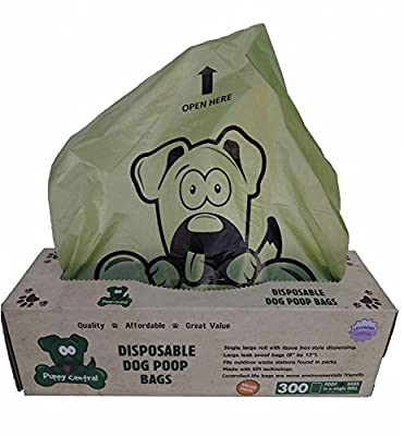 Puppy Central Dog Waste Bags for Pantries, 300 Large Leak-Proof Bags in Tissue-Box Dispensing Style Box, Single Roll, EPI Technology, Lavender Scented