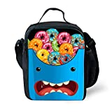HUGSIDEA Novelty Expression Lunch Tote Bag Colorful Donuts Pattern Thermo Lunchbox for Boys