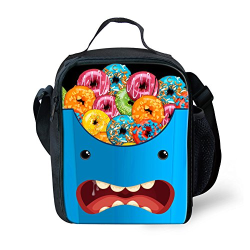 HUGS IDEA Novelty Expression Lunch Tote Bag Colorful Donuts Pattern Thermo Lunchbox for Boys ()