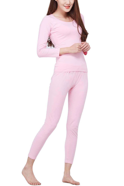綿 インナー 暖か肌着 上下セット ホットインナー レディース インナーシャツ 綿95% 薄手 長袖 吸湿発熱 あったかインナー