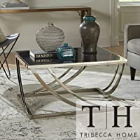 This Coffee Table Is a Tribecca Home Anson Steel Brushed Arch Curved Sculptural Modern Style Piece of Living Room Furniture