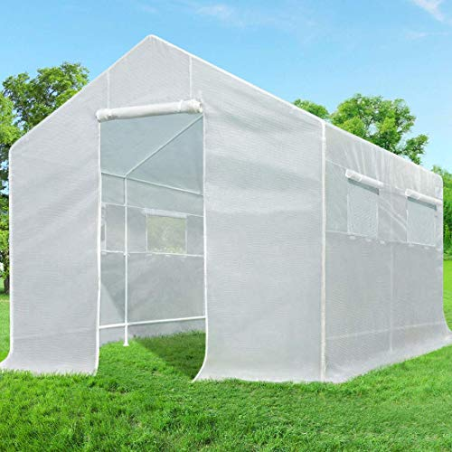 Quictent 10.24Lx9.35Wx7.84H ft Portable Tunnel Greenhouse for Outdoors 2 Doors Large Walk-in Garden Plant Greenhouse with 12 Stakes