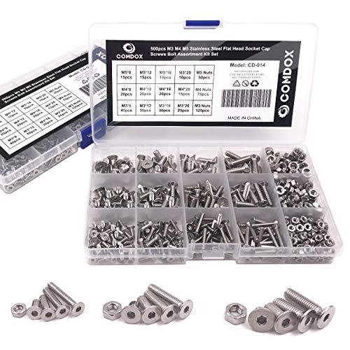 Comdox 500pcs Socket Cap Screws Hex Head Bolt Nuts Assortment Kit Set, Stainless Steel, M3 M4 M5 Thread Size, Full Thread, Countersunk Head, Allen Hex Drive